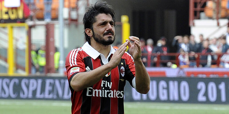 MILAN, ITALY - MAY 13: Gennaro Gattuso of AC Milan salutes the fans after his last game for AC Milan after the Serie A match between AC Milan and Novara Calcio at Stadio Giuseppe Meazza on May 13, 2012 in Milan, Italy. (Photo by Claudio Villa/Getty Images)